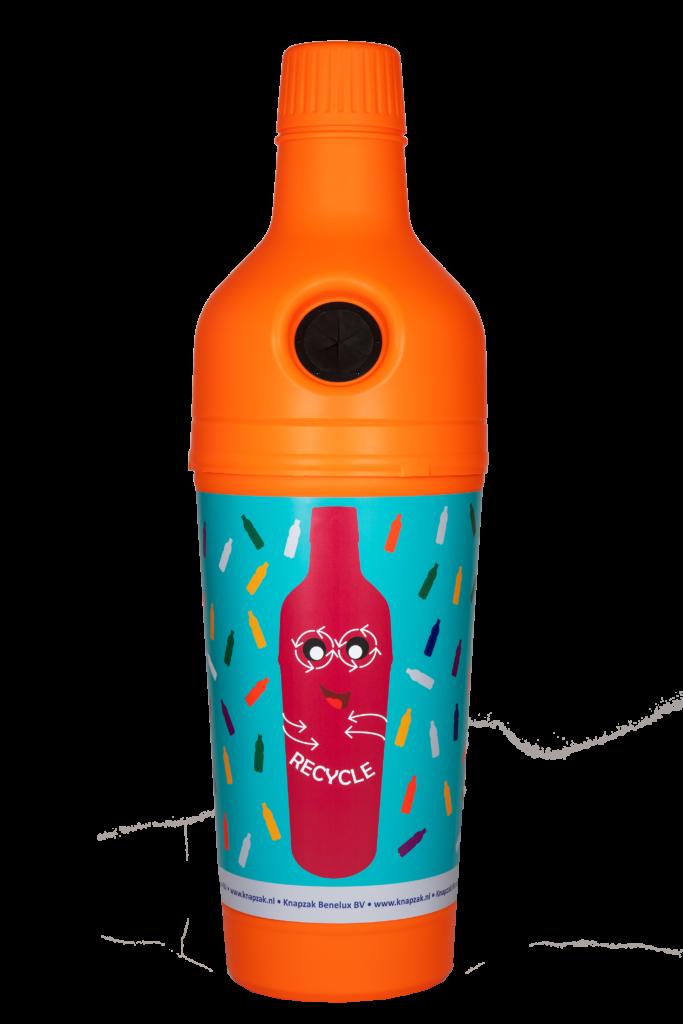 Plastic flesjes inzamelen afvalbakken Knapzak Benelux